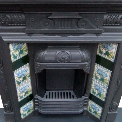 """COMBI205 - Highly Detailed Cast Iron Combination Fireplace (43.75""""H x 42.25""""W)"""