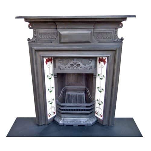 Antique Art Nouveau Combination Fireplace
