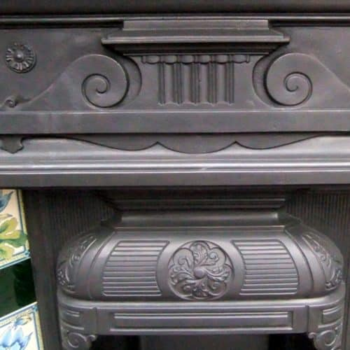 Highly Detailed Cast Iron Combination Fireplace