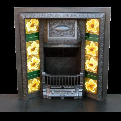 INS061B - Victorian Cast Iron Antique Fireplace Insert (34″H x 36″W)