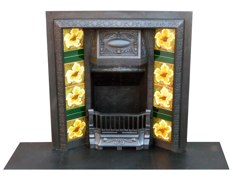 Cast iron fireplace insert with antique victorian design