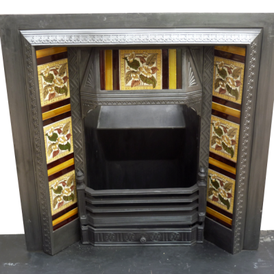 INS072 - Victorian Cast Iron Fireplace Antique Insert (37.5″H x 37.25″W)