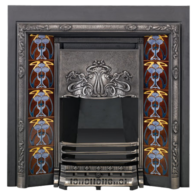Stovax Blue Peonies Tubelined Fireplace Tile
