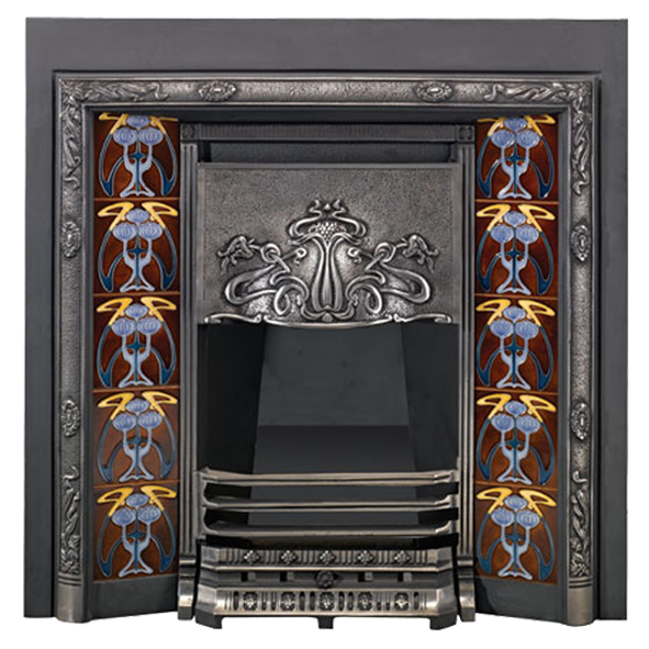 Stovax Blue Peonies Tubelined Fireplace Tile 4926