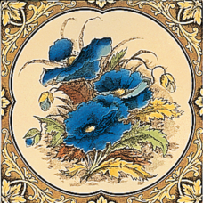 RT004 - Stovax Blue Poppies Fireplace Tile (4271)