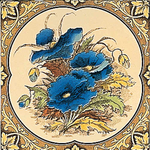 Stovax Blue Poppies Fireplace Tile