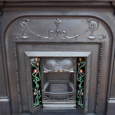 "CS027 - Antique Victorian Fireplace Cast Iron Surround (58.5""H x 74.5""M)"