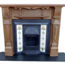 "TS038 - Original Antique Pine Fireplace Surround (52″H x 63.5""M)"