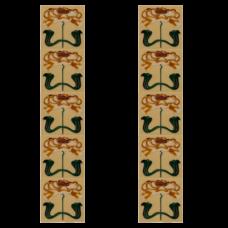 RT045 - Carron Art Nouveau Tubelined Fireplace Tiles (LGC084)