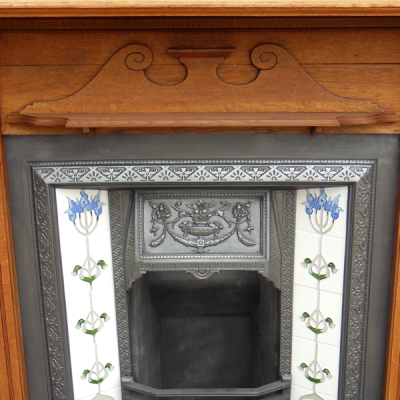 "TS046 - Original Oak Victorian Fireplace Surround (50""H x 52.75""W)"