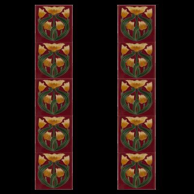 RT047 - Carron Tulip Tubelined Fireplace Tiles (LGC088)