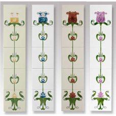 RT037 - Cast Tec Tulip Tubelined Fireplace Tiles (4 Colours)