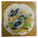 OT191 - Original Hand Painted Pansy Victorian Fireplace Tiles