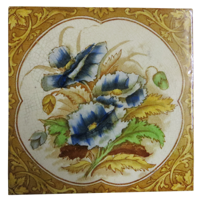 Original Hand Painted Pansy Victorian Fireplace Tiles