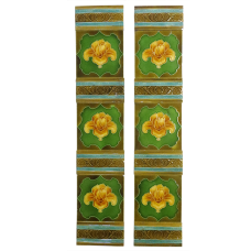 OT193 - Original Gold Iris Victorian Fireplace Tiles