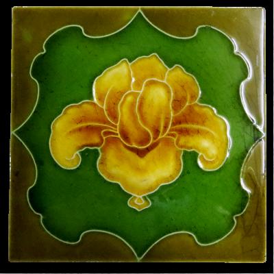 Original Gold Iris Victorian Fireplace Tiles