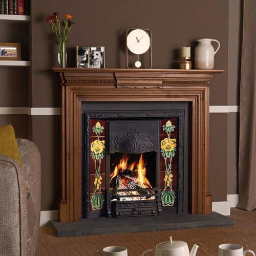 Stovax Art Nouveau Tiled Fireplace Front