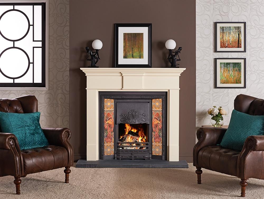 Stovax Art Nouveau Tiled Fireplace Front Victorian