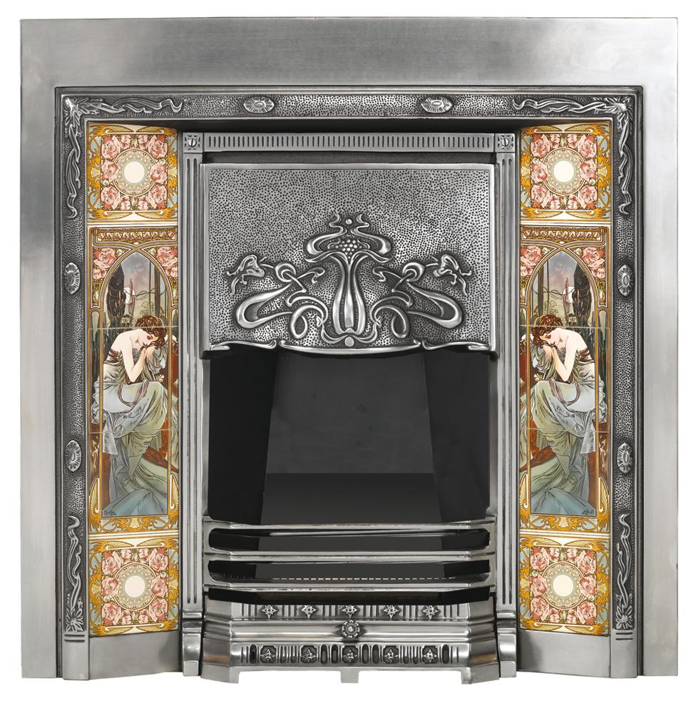 Art Nouveau Tiled Convector Fireplace Front Victorian