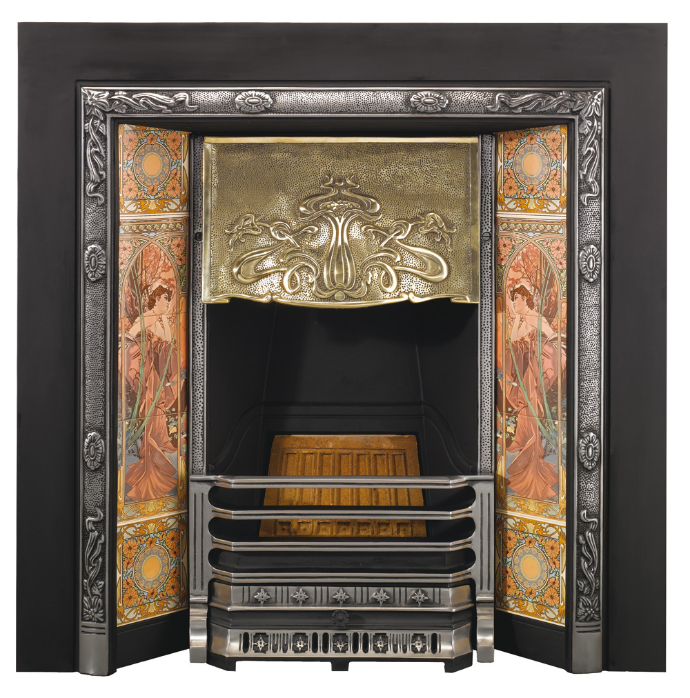 stovax art nouveau tiled insert fireplace victorian fireplace store rh victorianfireplacestore co uk art nouveau fireplace united states art nouveau fireplace for sale
