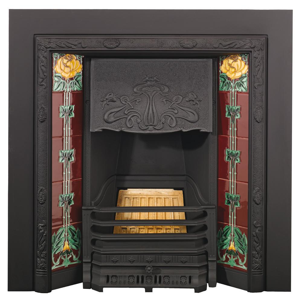 Art Deco Fire Basket Stovax : Stovax art nouveau tiled insert fireplace victorian