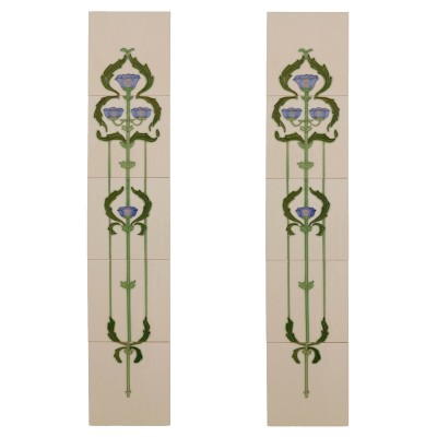 RT066 - Carron Tubelined Stemming Floral Fireplace Tiles (LGC011)