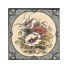 RT077 - Stovax Poppies Floral Border Decorated Tile (4059)