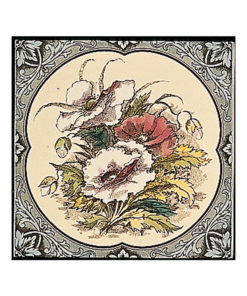 Poppies Floral Border Decorated Tile