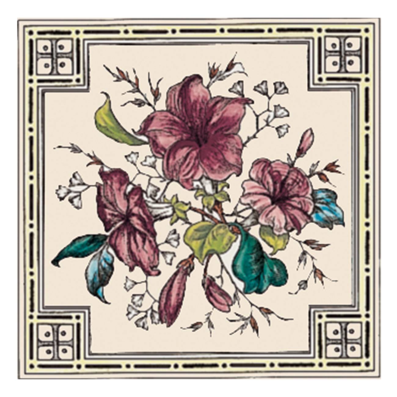 Stovax Plant Amp Urn Decorated Tile 4287 Victorian