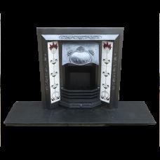 INS225 - Antique Art Nouveau Cast Iron Fireplace Insert (38″H x 36″W)