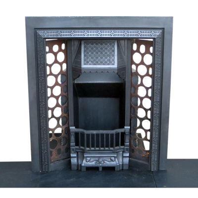 INS230 - Antique Mid Victorian Cast Iron Fireplace Insert (36″H x 32″W)