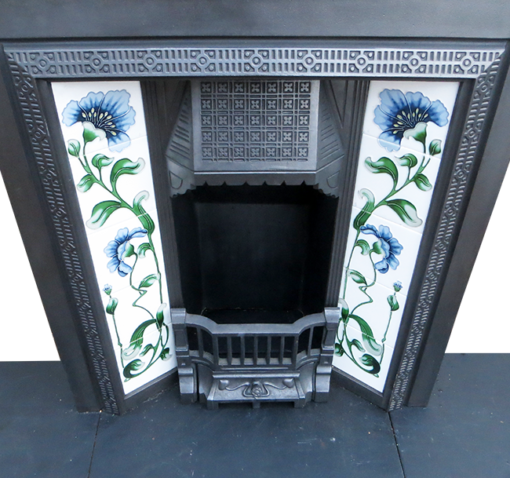 Art Nouveau Antique Cast Iron Fireplace Insert