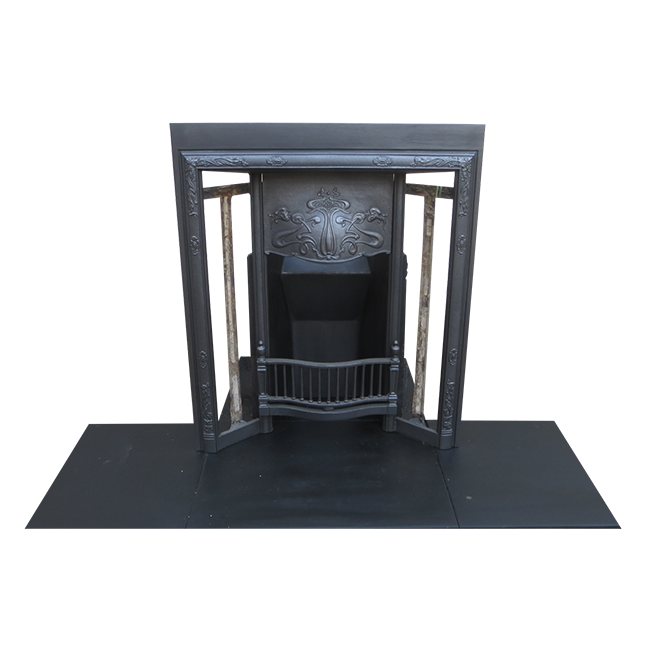Art Nouveau Antique Cast Iron Fireplace Insert Victorian Fireplace Store