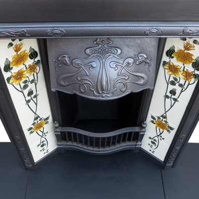 INS232 - Art Nouveau Antique Cast Iron Fireplace Insert (36″H x 30″W)