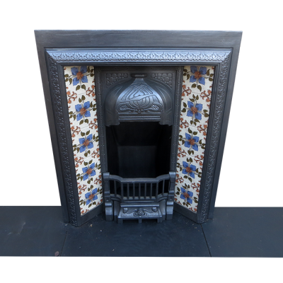 INS233 - Small Art Nouveau Antique Cast Iron Fireplace Insert (36″H x 29.5″W)