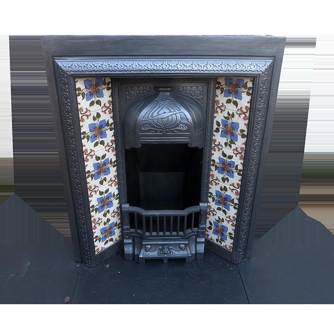 Buy Small Art Nouveau Antique Cast Iron Fireplace Insert