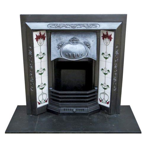 Antique Art Nouveau Cast Iron Fireplace Insert