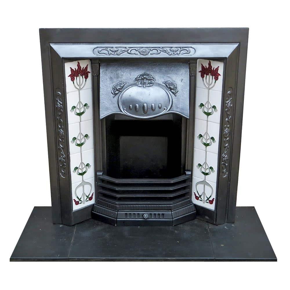 Antique Art Nouveau Cast Iron Fireplace Insert Victorian Fireplace Store