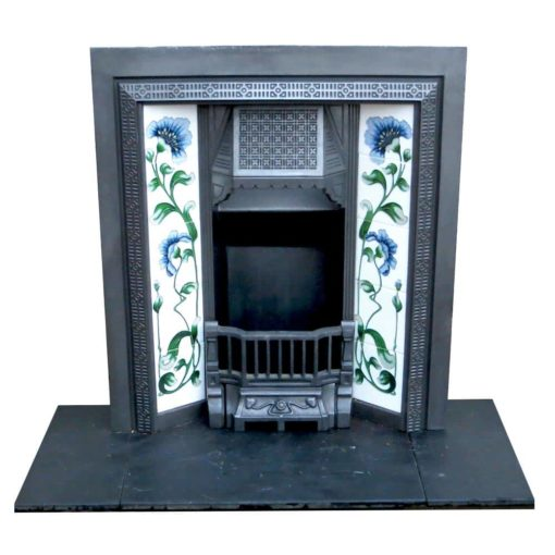 Antique Mid Victorian Cast Iron Fireplace Insert