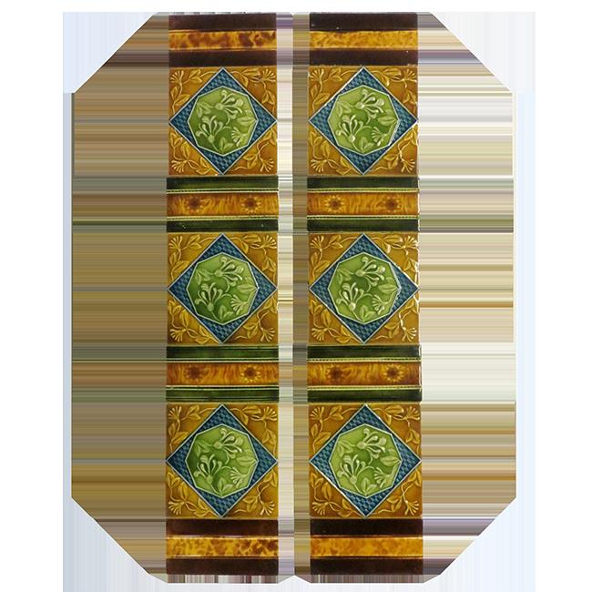 Antiques Tiles Ot097 Antique Amber Edwardian Victorian Fireplace Tiles