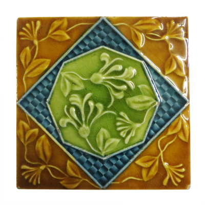 Antique Amber Edwardian Victorian Fireplace Tiles