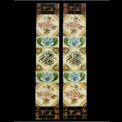 Original Victorian Floral Fireplace Tiles