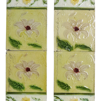 Original Pale Yellow Victorian Floral Fireplace Tiles
