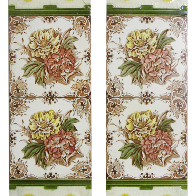 Floral Antique Victorian Fireplace Tiles