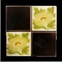 OT119 - Original 4 Square Victorian Floral Fireplace Tiles