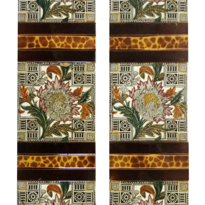 Original Central Floral Victorian Fireplace Tiles