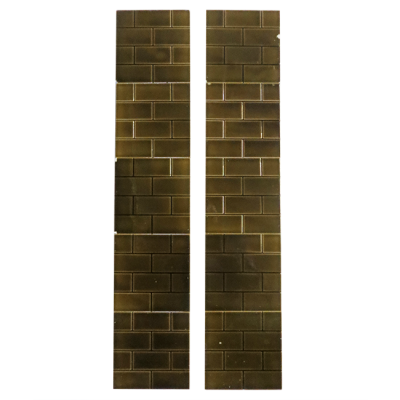 OT128 - Antique Brown Glazed Brick Victorian Fireplace Tiles