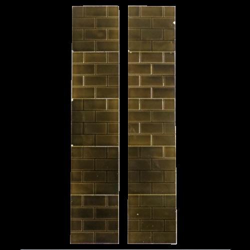 Antique Brown Glazed Brick Victorian Fireplace Tiles