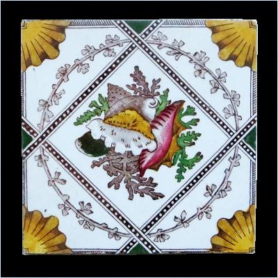 Antique Symmetrical Victorian Fireplace Tiles