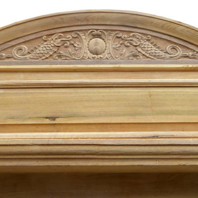 "TS063 - Antique Pine Beech Fireplace Surround & Over-Mantel (53.5""H x 66""W)"